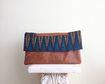 African Print Clutch, Upcyled Leather Purse, Repurposed Bag, African Bag, Personal Gift, Leather Handbag, African printed bag