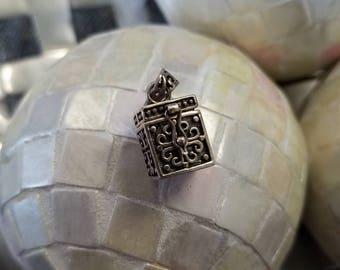 Sterling silver prayer box pendant