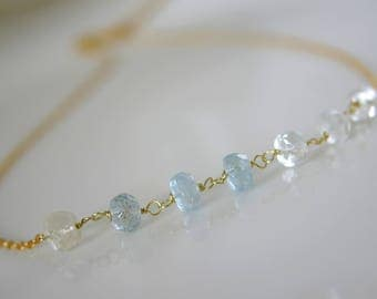 Fine necklace with aquamarine necklace 925 sterling silver gold plated