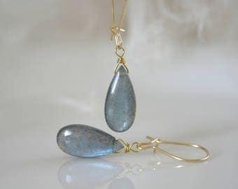 Solid Gold 8ct Labradorite Earrings 8 carat labradorite 333 gold earrings