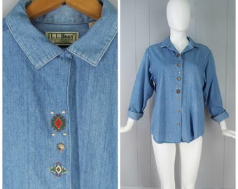 Vintage Womens LL Bean Long Sleeve Chambray Button Up Shirt with Embroidery at Button Placket | Size M (or oversized S)