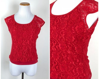 Vintage Womens 1990s Red Stretch Lace Cap Sleeve Scoop Neck Pullover Top | Size S