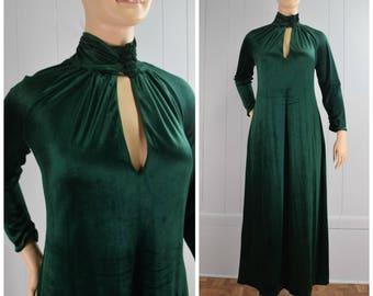 Vintage Womens 1970s Deep Green Velvet Velour High Neck Maxi Dress with Keyhole Detail | Size M/L