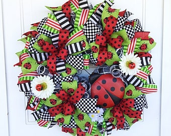 Spring Wreath, Mesh Ladybug Wreath, Ladybug Wreath, Mesh Ribbon Wreath, Ladybug Spring Wreath, Ladybug, Front Door Wreath
