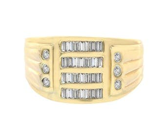 0.45 Carat Baguette Round Cut Channel Setting Diamonds Mens Ring 14K Yellow Gold
