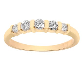 0.29 Carat Diamond Wedding Band 14K Yellow Gold Ring