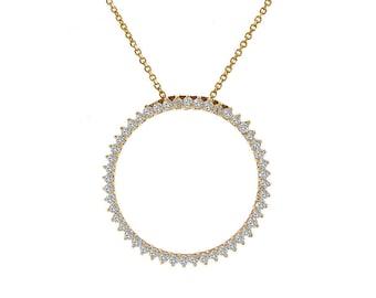 0.75 Carat Diamond Classic Circle Eternity Pendant 14K Yellow Gold