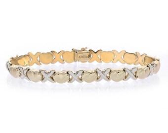 8.1mm Ladies Hugs & Kisses Bracelet 14k Two Tone Gold