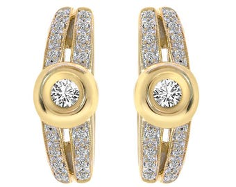 0.50 Carat Diamond French Backing Closure Earrings 14K Yellow Gold