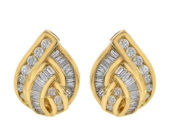 1.00 Carat Channel Set Baguette/Round Cut Diamond Omega Back Earrings 14K Yellow Gold