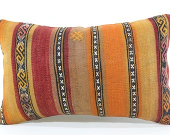 Turkish Kilim Pillow Sofa Pillow Decorative Kilim Pillow 12x20 Lumbar Kilim Pillow Home Decor Cushion Cover SP3050-1399