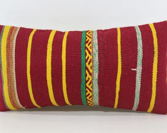 Red Yellow Striped Kilim Pillow Bedroom Pillow 12x24 Decorative Kilim Pillow Turkish Kilim Pillow Ethnic Pillow Cushion Cover  P3060-1130