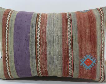 16x24 Decorative Kilim Pillow Striped Kilim Pillow Home Decor Ethnic Pillow 16x24 Striped Kilim Pillow Bedroom Pillow  SP4060-716