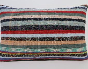 Cushion Cover Multicolor Kilim Pillow  Striped Cotton Kilim Pillow 16x24 Sofa Pillow Decorative Kilim Pillow Home Decor SP4060-949