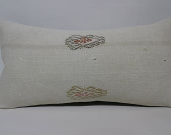 Lumbar  Anatolian Kilim Pillow Turkish Black Striped Kilim Pillow 12x24 Bedroom Kilim Pillow Home Decor Cushion Cover  SP3060-1534