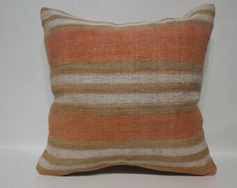 Home Decor Striped Kİlim Pillow Throw Pillow 20x20 Handwoven Kilim Pillow Turkish Kilim Pİllow Decorative Kilim Pillow SP5050-2454