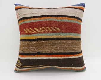 Red and Brown Striped Pillow 20x20 Large Turkish Kilim Pillow Kilim Pillow Boho Cushion Cover Pillow Arrow Pillow Blue Pillow SP5050-2772