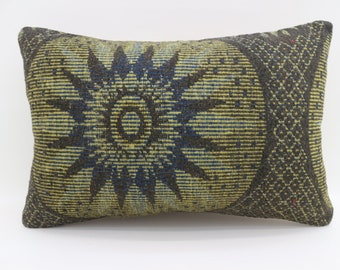 16x24 Kelim Kissen Pillow Cover Floral Pillow 16x24 Kilim Pillow Green Pillow Turkish Kilim Pillow Geometric Pillow Throw Pillow SP4060-1407