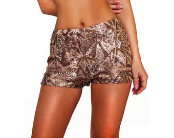 Bronze Sequin High Waisted Rave Shorts/ Booty Shorts/ Rave Sequin Shorts/ Festival Shorts/ EDC Shorts/ Dance Shorts/ Hot Pants/ EDM Shorts