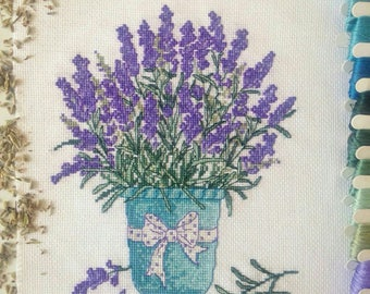 Embroidery pillow Lavender Pot hand embroidered cross stitch