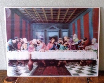 Kitschy MidCentury 3d Lentograph of Last Supper Jesus and his Disciples Religious Art Kitschy Deco Wall three dimensional dinner 1950s prop
