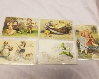 Lot of 5 Easter imbossed  postcards antique 1909-1910