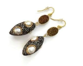 Druzy agathe and pearl earrings