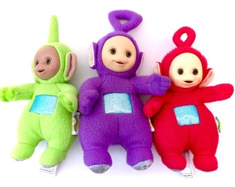 Vintage Teletubbies Plush Lot Tinkey Winkey Po Dipsy Green Purple Red 90s Kid TV Show 1990s Toys Retro Cartoons Kidcore Toywave DDLG Cute