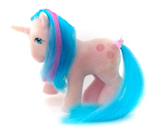 G1 My Little Pony So Soft Buttons With Ribbon Original 80s Vintage SS MLP Ponies Toy Hasbro Chire Fuzzy Flocked Unicorn Blue Hair KidCore