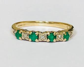 Vintage 9ct yellow gold Emerald & Diamond ring - Birmingham 1991