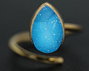 SPECIAL OFFER 5% OFF Designer Natural Sugar Druzy Stone Gold Plated Free Size Adjustable Women & Girls Promise Ring Jewelry Party Wedding Ca