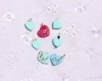 Sweet tart heart polymer clay charms