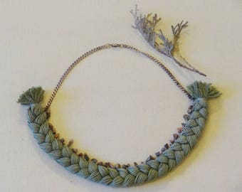 Braided Necklace, Cotton Necklace, Green Necklace, Bohemian Braided Necklace, Vintage Style Necklace, Boho necklace, Gemstone Necklace