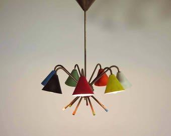 1950's Italian atomic chandelier in the style of Angelo Lelli - 7 cups