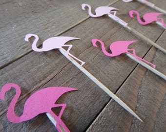12 Flamingo Cupcake Toppers , Tropical Cupcake Toppers
