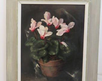 Vintage Oil Painting Listed American Artist Harry Lane Cyclamen Flowers