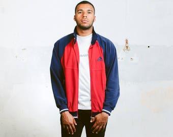 Vintage Adidas Velvet Jacket . Men's Zip Up 90s Velour Jacket Red Sports Jacket Adidas Logo Jacket Sportswear Soft 90s Jacket . size Medium