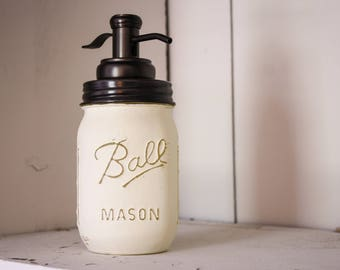 mason jar soap dispenser, soap dispenser, chalk painted soap dispenser, mason jar bathroom