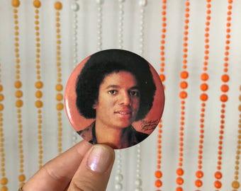 Vintage Micheal Jackson Button Pin - Orange