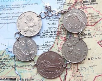 Israel coin bracelet - flat - made of original coins - coin jewelry -