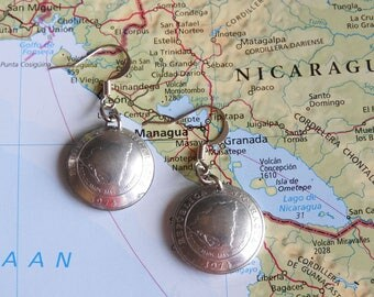 Nicaragua coin earrings - 2 different designs - made of original coins - map - South America