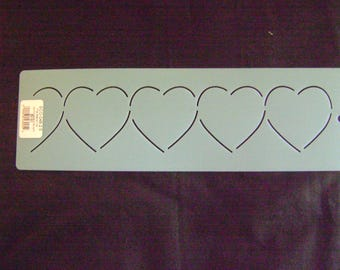 Traditional Quilting Stencil 2.5 in. by 12 in. Hearts Horizontal Border/Valentines Day/Wedding