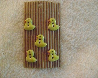 South African Hand-Painted Ceramic and Clay Buttons - Yellow Baby Chicks