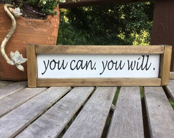 You can. You will,shiplap sign,gallery wall sign,subway art,farmhouse wood sign,wood sign,guest room sign,farmhouse decor,motivational sign