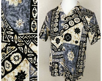 Vintage barkcloth Tiki tapa shirt with coconut buttons