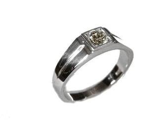 Men's Ring Silver 925 Solitaire Men's Jewelery Men's Jewelery 5.5mm Zirconia