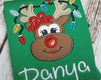 Christmas reindeer child's shirt with or without name