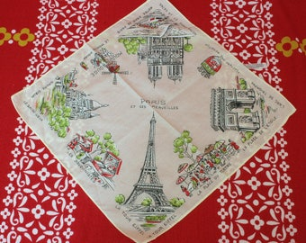 1960's Paris Souvenir Hankie Handkerchief Eiffel Tower Notre Dame Moulin Rouge Made in France