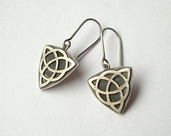 Triquetra Silver Dangle Earrings, Silver Earrings, Amulets
