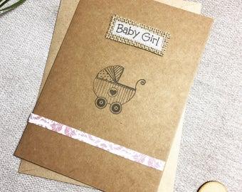 Baby card, baby girl card, new baby card, handmade card, card for baby